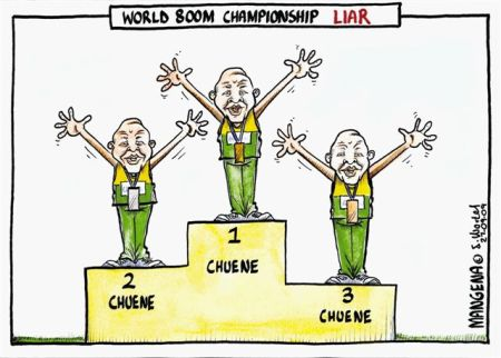 'World 800m Champion Liar': Africartoons.com