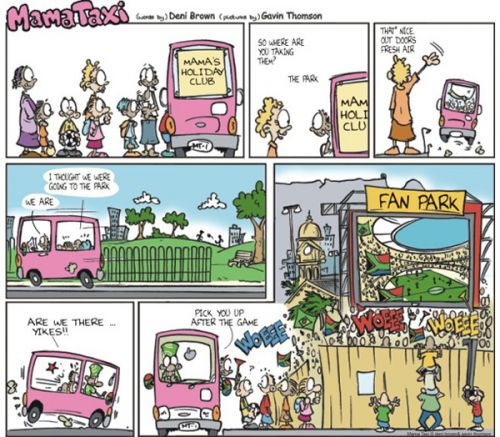 'Mama Taxi goes to the World Cup': Africartoons.com