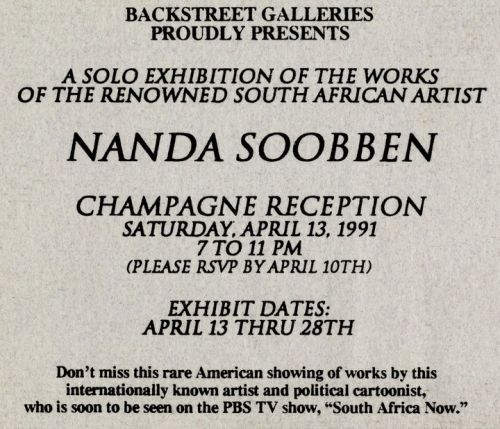 'Nanda Soobben Solo Exhibition New York City': Africartoons.com