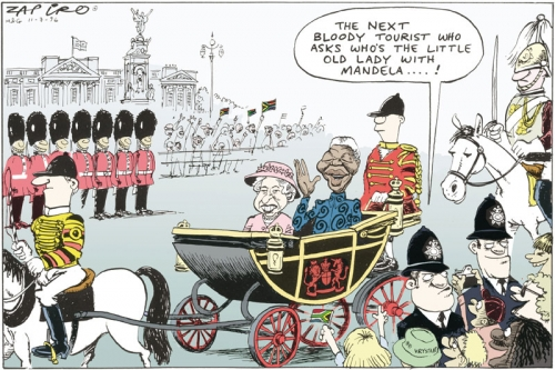 '1996: Mandela visits The Queen': Africartoons.com