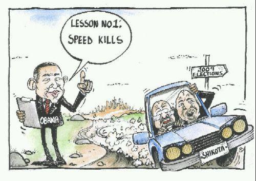 'Obama cautions COPE leaders': Africartoons.com