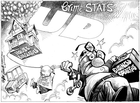 'Crime Stats: Up Up and Away': Africartoons.com