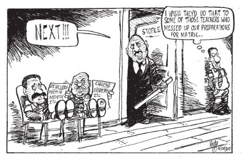 'Disciplining de Villiers and Chuene': Africartoons.com