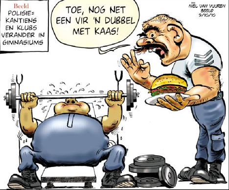 'Fat Cops Go to Gym': Africartoons.com