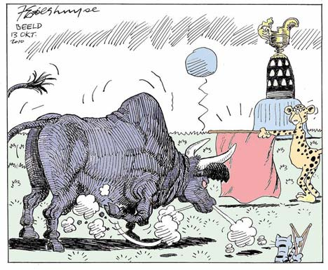 'Red Flag to a Blue Bull': Africartoons.com