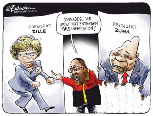 'Vavi Chooses Between Zille and Zuma': Africartoons.com