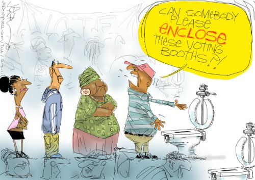 'Unenclosed Voting Booths': Africartoons.com
