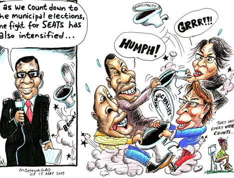 'Councillors, take your seats...': Africartoons.com