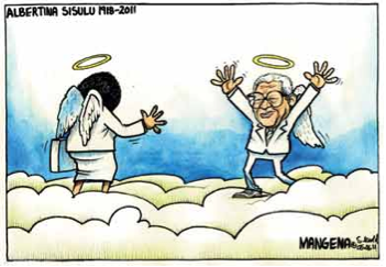 'Walter and Albertina Sisulu in the Clouds': Africartoons.com