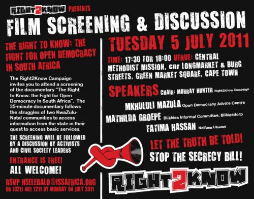 'Right 2 Know Film Screening': Africartoons.com