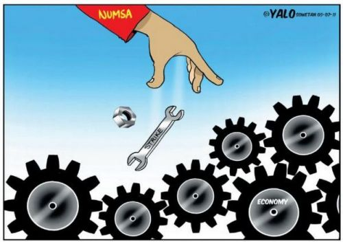 'Numsa throws a Spanner': Africartoons.com