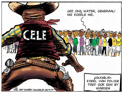 'Cowboy Cele and the Warden Protests': Africartoons.com