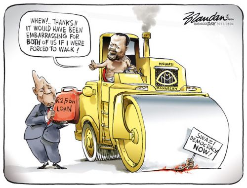 'Bank Rolling a Monarch': Africartoons.com