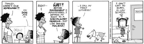 'The Dog Ate My Homework Trial': Africartoons.com