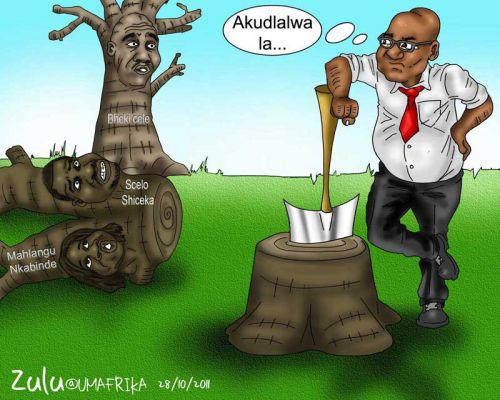 'Zuma Wields the Axe': Africartoons.com