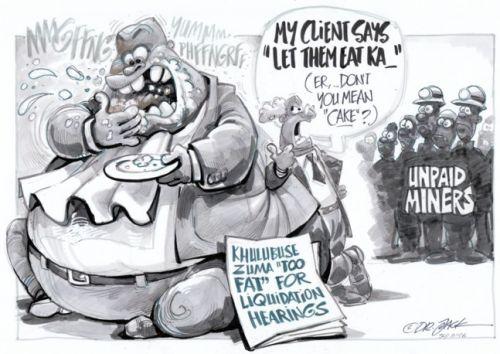 'Khulubuse Eats While His Mine Goes Under': Africartoons.com