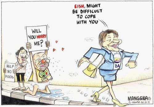 'Lekota Proposes to Zille': Africartoons.com