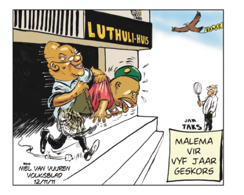 'Malema Thrown to the Hawks and Taxman ': Africartoons.com