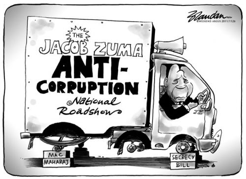 'Zuma's Anti Corruption Drive Loses its Wheels': Africartoons.com