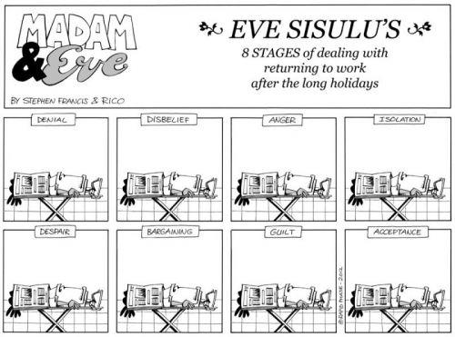 'Eve Returns to Work - welllll, sort of': Africartoons.com