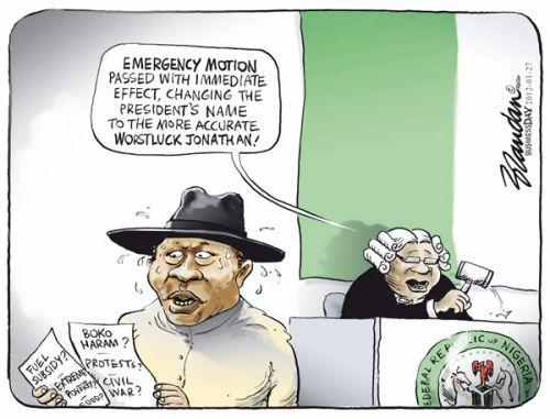 'Badluck Jonathan': Africartoons.com