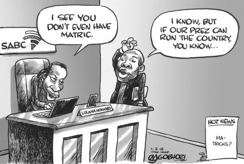 'Who Needs a Matric Certificate?': Africartoons.com