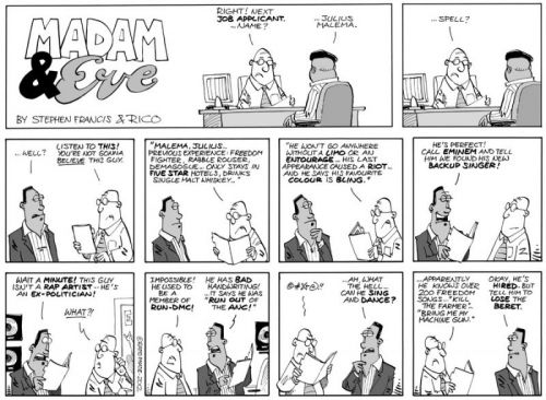 'Madam &amp; Eve on Malema&#039;s Employment Trail': Africartoons.com
