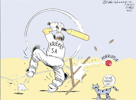 'Cricket SA gets a Bouncer of Note': Africartoons.com