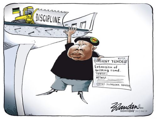 'End of the Road for Malema?': Africartoons.com