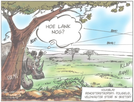 'Rhino Wars Take Human Toll': Africartoons.com