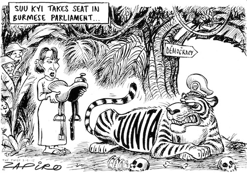 'Riding the Tiger': Africartoons.com
