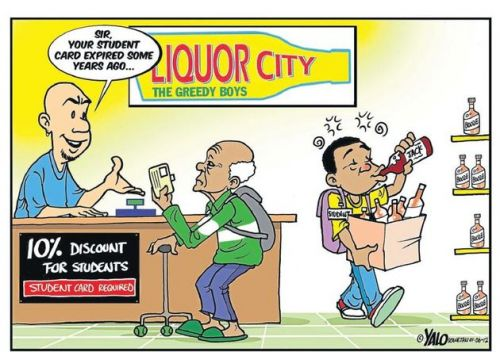'Discounting Student Drinking': Africartoons.com