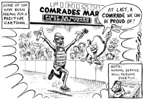 'Zapiro Gets Positive - One Day Only!': Africartoons.com
