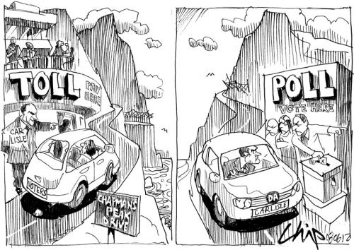 'DA to Pay for Tolls at the Polls': Africartoons.com