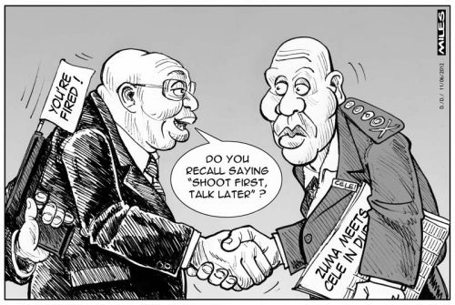 'Firing Bheki Cele': Africartoons.com