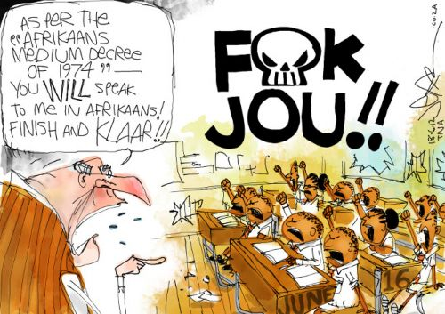 'Two Little Words in Afrikaans': Africartoons.com