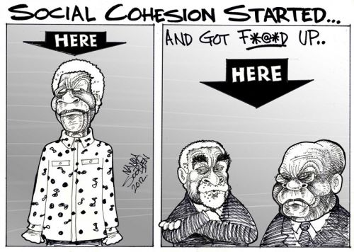 'The Rise and Fall of Social Cohesion in SA': Africartoons.com