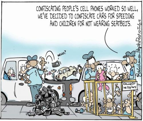 'Confiscating Phones, Cars and Children': Africartoons.com