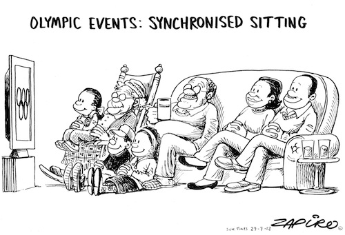 'Synchronised Sitting ': Africartoons.com