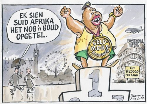 'Living it up in London': Africartoons.com