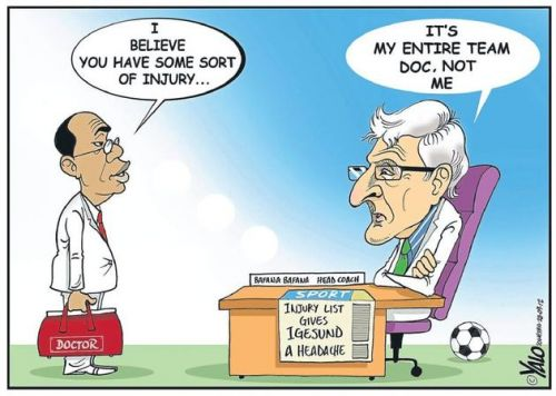 'Igesund's Injury Headache': Africartoons.com