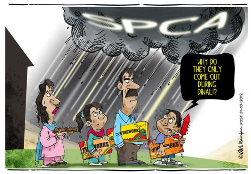 'Raining on the Diwali Parade': Africartoons.com