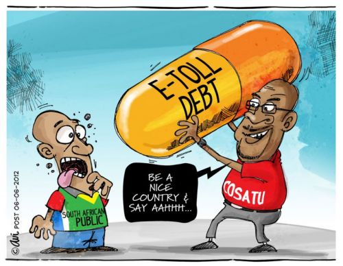 'E-Toll Debt - A hard pill to swallow.': Africartoons.com