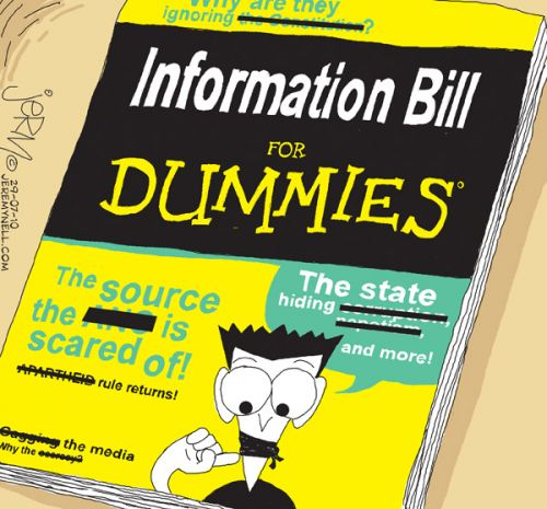'Protection of Information Bill for Dummies': Africartoons.com