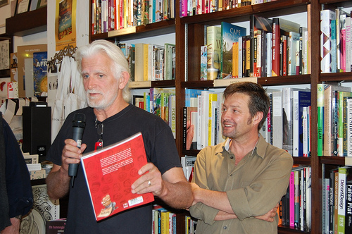 Editors Andy Mason and John Curtis at the   Cape Town launch of Don't Joke! at the Book Lounge in December 2009.