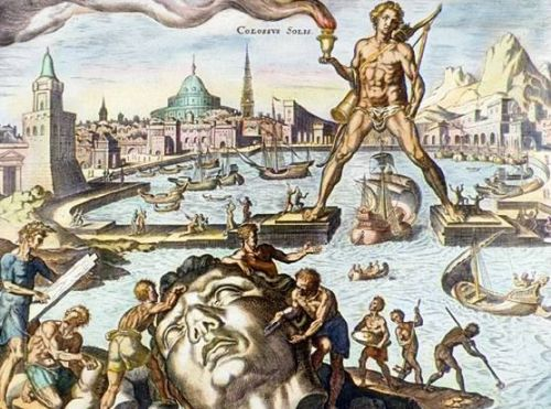 Colossus of Rhodes, depicted in a 16th-century engraving by Martin Heemskerck, part of his series of the Seven Wonders of the World